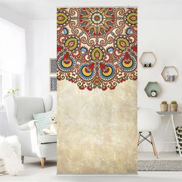 Raumteiler - Farbiges Mandala 250x120cm