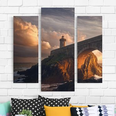 Leinwandbild 3-teilig - Leuchtturm an der Brücke - Galerie Triptychon