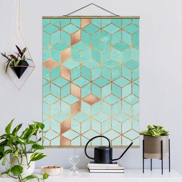Stoffbild mit Posterleisten - Elisabeth Fredriksson - Türkis Weiß goldene Geometrie - Hochformat 4:3