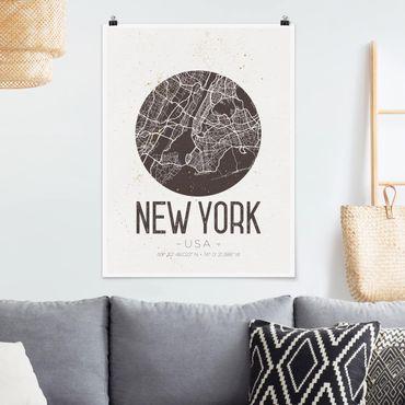 Poster - Stadtplan New York - Retro - Hochformat 3:4