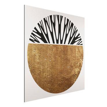 Aluminium Print - Abstrakte Formen - Goldener Kreis - Quadrat 1:1