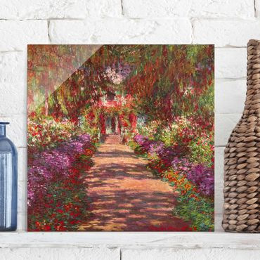 Glasbild - Claude Monet - Weg in Monets Garten in Giverny - Quadrat 1:1