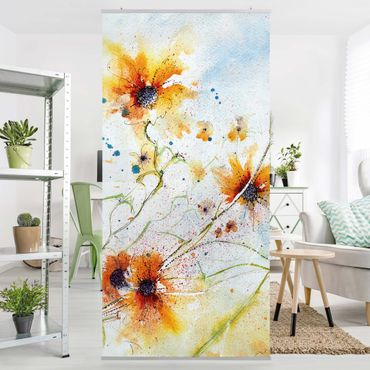 Raumteiler - Painted Flowers 250x120cm