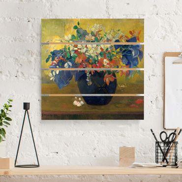 Holzbild - Paul Gauguin - Vase mit Blumen - Quadrat 1:1
