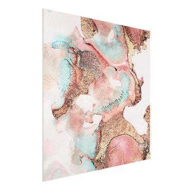 Forex Fine Art Print - Goldenes Aquarell Rosé - Quadrat 1:1