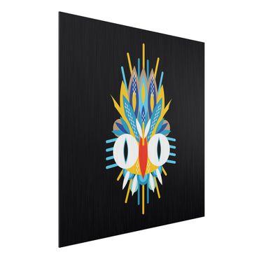 Aluminium Print gebürstet - Collage Ethno Maske - Vogel Federn - Quadrat 1:1