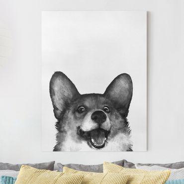 Leinwandbild - Illustration Hund Corgi Weiß Schwarz Malerei - Hochformat 4:3