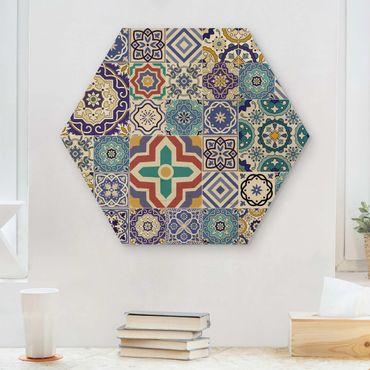 Hexagon Bild Holz - Fliesenspiegel - Aufwändige Portugiesische Fliesen