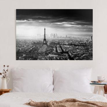 Leinwandbild - Der Eiffelturm von Oben Schwarz-weiß - Querformat 2:3