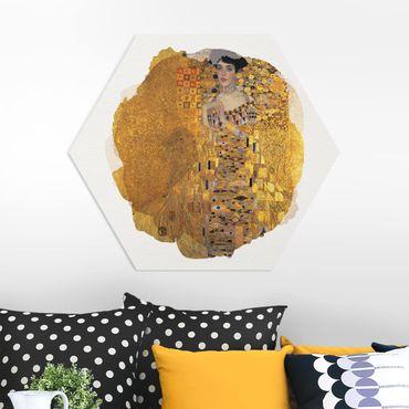 Hexagon Bild Forex - Wasserfarben - Gustav Klimt - Adele Bloch-Bauer I