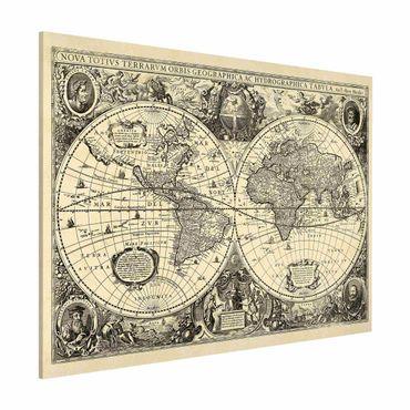 Magnettafel - Vintage Weltkarte Antike Illustration - Memoboard Querformat 3:4