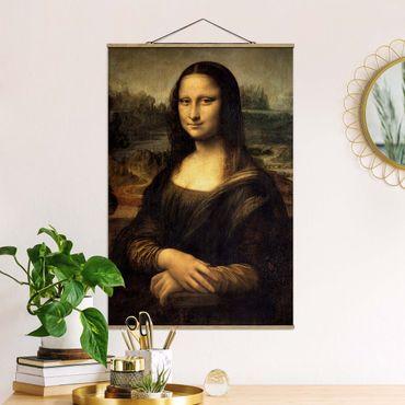 Stoffbild mit Posterleisten - Leonardo da Vinci - Mona Lisa - Hochformat 3:2