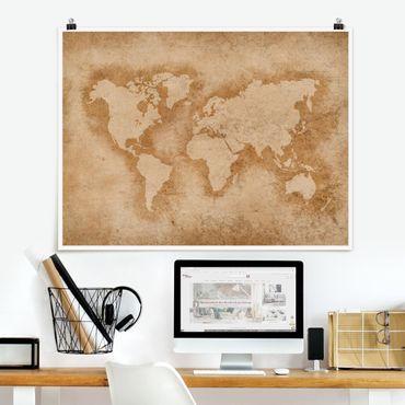 Poster - Antike Weltkarte - Querformat 3:4