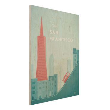 Holzbild - Reiseposter - San Francisco - Hochformat 4:3
