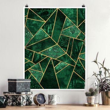 Poster - Dunkler Smaragd mit Gold - Hochformat 4:3