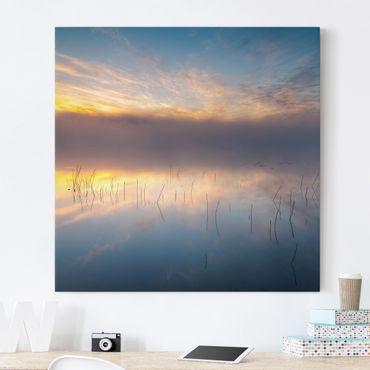 Leinwandbild - Sonnenaufgang schwedischer See - Quadrat 1:1