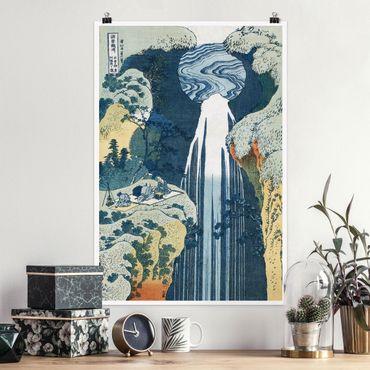 Poster - Katsushika Hokusai - Der Wasserfall von Amida - Hochformat 3:2