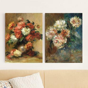 Leinwandbild 2-teilig - Auguste Renoir - Blumenvasen - Hoch 3:4