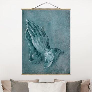 Stoffbild mit Posterleisten - Albrecht Dürer - Studie zu Betende Hände - Hochformat 4:3