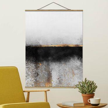 Stoffbild mit Posterleisten - Elisabeth Fredriksson - Abstrakter Goldener Horizont Schwarz Weiß - Hochformat 4:3