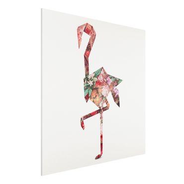 Forex Fine Art Print - Jonas Loose - Origami Flamingo - Quadrat 1:1
