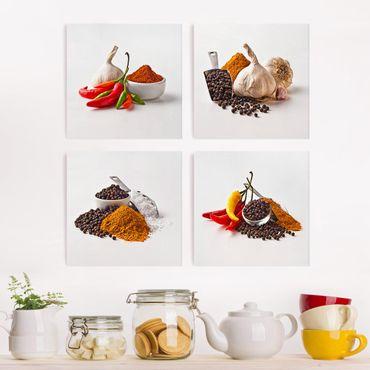 Leinwandbild 4-teilig - Chili Knoblauch und Gewürz - Sets