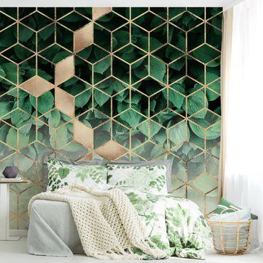 Fototapete - Grüne Blätter goldene Geometrie - Fototapete Quadrat