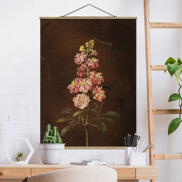 Stoffbild mit Posterleisten - Barbara Regina Dietzsch - Eine rosa Garten-Levkkoje - Hochformat 4:3