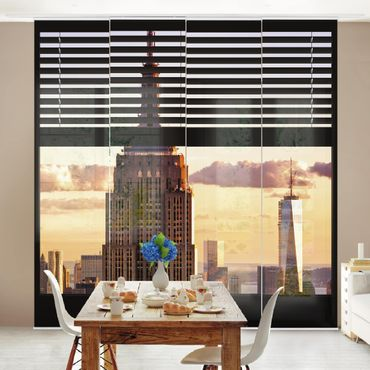 Schiebegardinen Set - Fensterblick Jalousie - Empire State Building New York - Flächenvorhänge