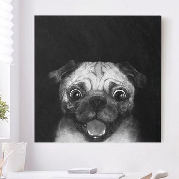 Leinwandbild - Illustration Hund Mops Malerei auf Schwarz Weiß - Quadrat 1:1