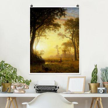 Poster - Albert Bierstadt - Sonnenbeschienene Lichtung - Hochformat 3:4