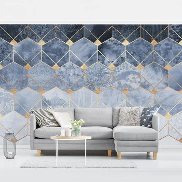 Fototapete - Blaue Geometrie goldenes Art Deco - Fototapete Quadrat