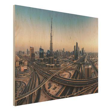 Holzbild - Abendstimmung in Dubai - Querformat 3:4