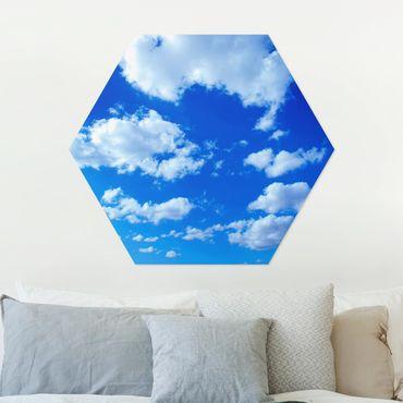 Hexagon Bild Alu-Dibond - Wolkenhimmel