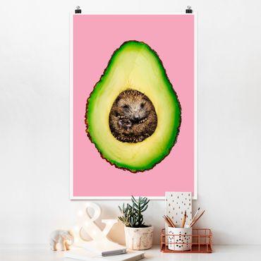 Poster - Jonas Loose - Avocado mit Igel - Hochformat 3:2