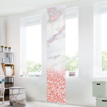 Schiebegardinen Set - Mamoroptik mit Rosa Konfetti - 6 Flächenvorhänge