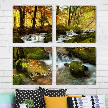 Leinwandbild 4-teilig - Wasserfall herbstlicher Wald