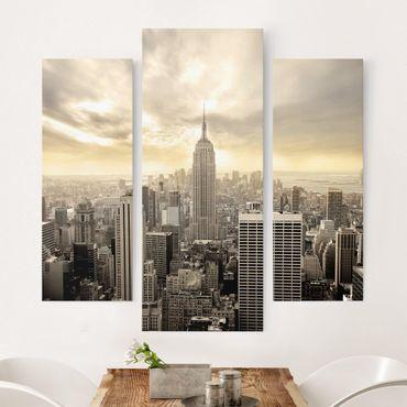 Leinwandbild 3-teilig - Manhattan Dawn - Galerie Triptychon