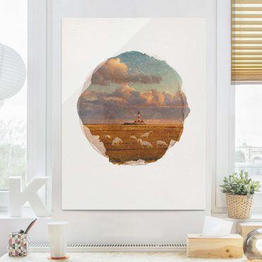 Glasbild - Wasserfarben - Nordsee Leuchtturm mit Schafsherde - Hochformat 4:3