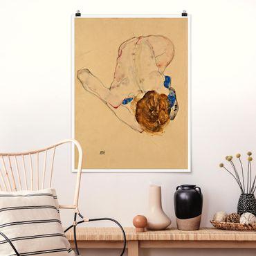 Poster - Egon Schiele - Nach vorne gebeugter Akt - Hochformat 3:4