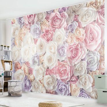 Schiebegardinen Set - Pastell Paper Art Rosen - Flächenvorhänge
