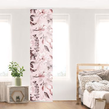 Schiebegardinen Set - Blüten mit Grauen Blättern vor Rosa - 6 Flächenvorhänge
