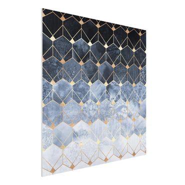 Forex Fine Art Print - Blaue Geometrie goldenes Art Deco - Quadrat 1:1
