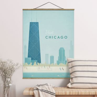 Stoffbild mit Posterleisten - Reiseposter - Chicago - Hochformat 4:3