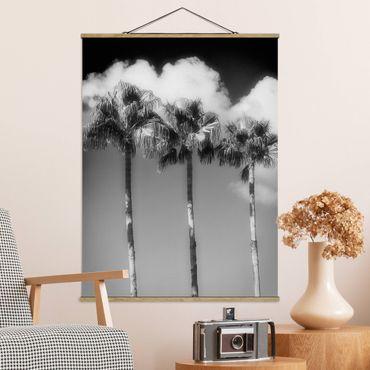 Stoffbild mit Posterleisten - Palmen vor Himmel Schwarz-Weiß - Hochformat 4:3