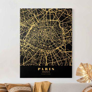 Leinwandbild Gold - Stadtplan Paris - Klassik Schwarz - Hochformat 3:4