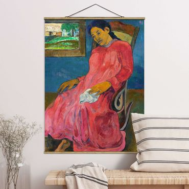 Stoffbild mit Posterleisten - Paul Gauguin - Melancholikerin - Hochformat 4:3