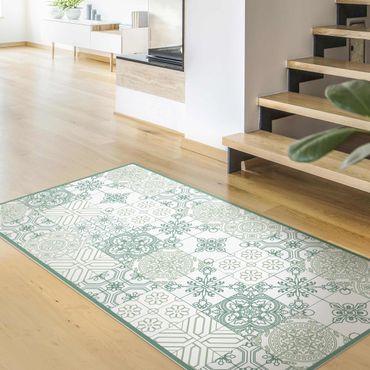 Vinyl-Teppich - Florales Fliesenmuster kleinteilig in Grüntönen - Hochformat 1:2