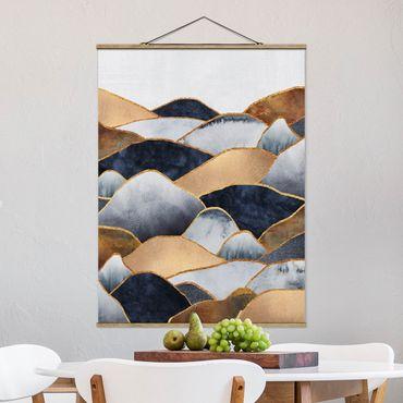 Stoffbild mit Posterleisten - Elisabeth Fredriksson - Goldene Berge Aquarell - Hochformat 4:3