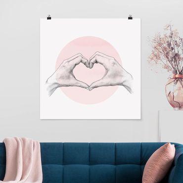 Poster - Illustration Herz Hände Kreis Rosa Weiß - Quadrat 1:1